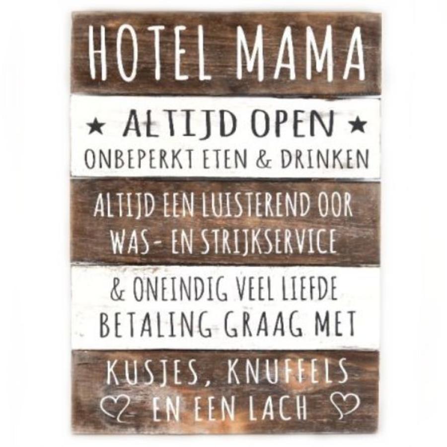"Houten Tekstplank / Tekstbord 40x30cm ""Hotel Mama"" - Kleur Naturel en Antique White-1"