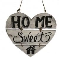"""thumb-BonTon - Houten Tekstplank / Teksthart 30 cm """"Home Sweet Home"""" - Kleur Antique White-1"""