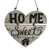 """thumb-Houten Tekstplank / Teksthart 30cm """"Home Sweet Home"""" - Kleur Antique White-1"""