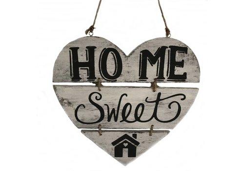 """Houten Tekstplank / Teksthart 30cm """"Home Sweet Home"""" - Kleur Antique White"""