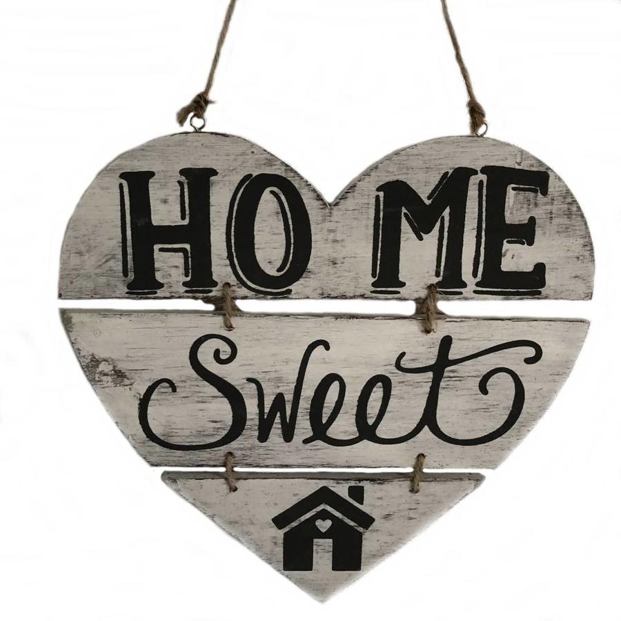 """Houten Tekstplank / Teksthart 30cm """"Home Sweet Home"""" - Kleur Antique White-1"""