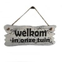 """thumb-Houten Tekstplank / Tekstbord 22x30cm """"Welkom in onze tuin"""" - Kleur Antique White-1"""