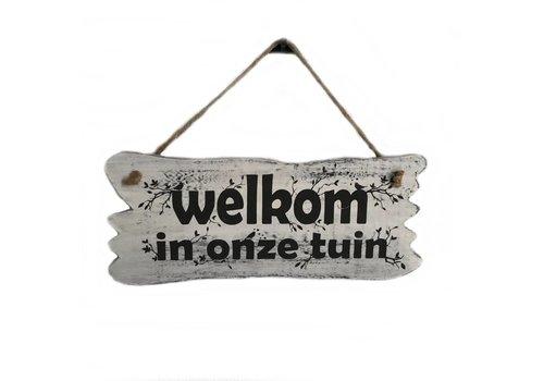 "Houten Tekstplank / Tekstbord 22x30cm ""Welkom in onze tuin"" - Kleur Antique White"