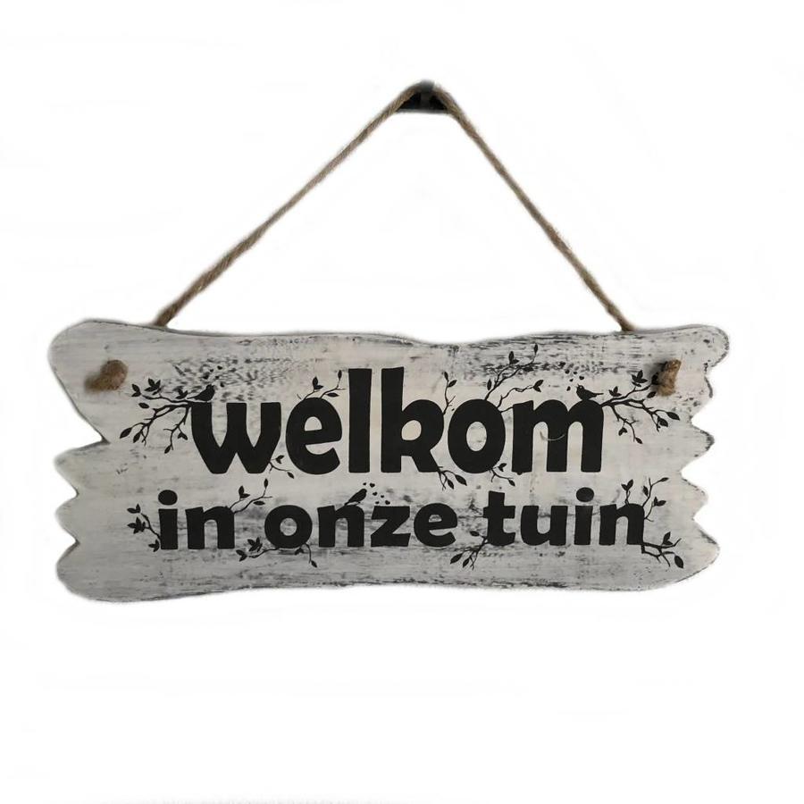 "Houten Tekstplank / Tekstbord 22x30cm ""Welkom in onze tuin"" - Kleur Antique White-1"