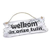 """thumb-Houten Tekstplank / Tekstbord 22x30cm """"Welkom in onze tuin"""" - Kleur Antique White-5"""