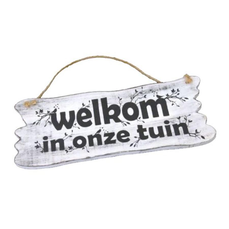 "Houten Tekstplank / Tekstbord 22x30cm ""Welkom in onze tuin"" - Kleur Antique White-5"