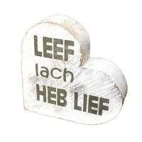 """thumb-Houten Teksthart 10 cm """"Leef Lach Heb Lief"""" - Kleur Antique White-1"""
