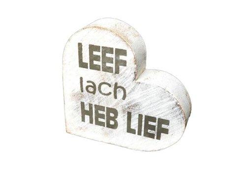 "Houten Teksthart 10 cm ""Leef Lach Heb Lief"" - Kleur Antique White"
