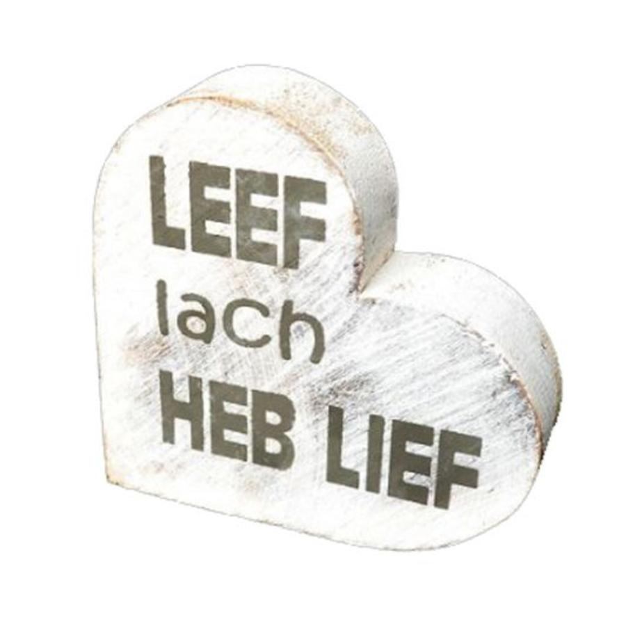 "Houten Teksthart 10 cm ""Leef Lach Heb Lief"" - Kleur Antique White-1"