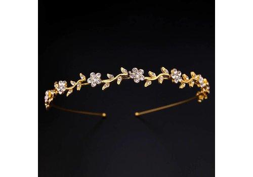 Goudkleurige Diadeem - Tiara met Fonkelende Bloemetjes