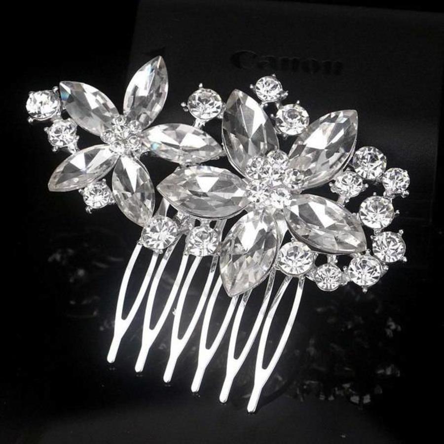 PaCaZa - Moderne Fonkelende Haarkam Flowers-1