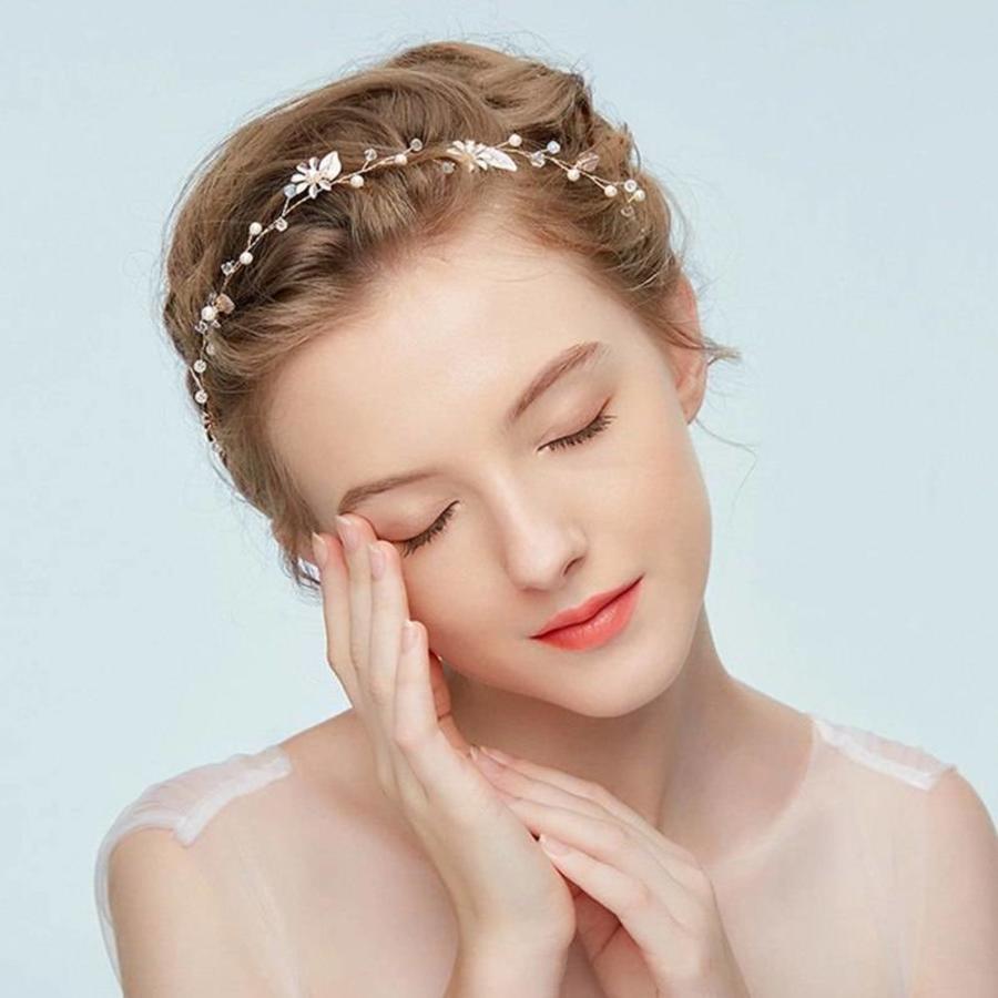 Goudkleurig Haar Sieraad met Zacht Roze Blaadjes en Bloemetjes-3
