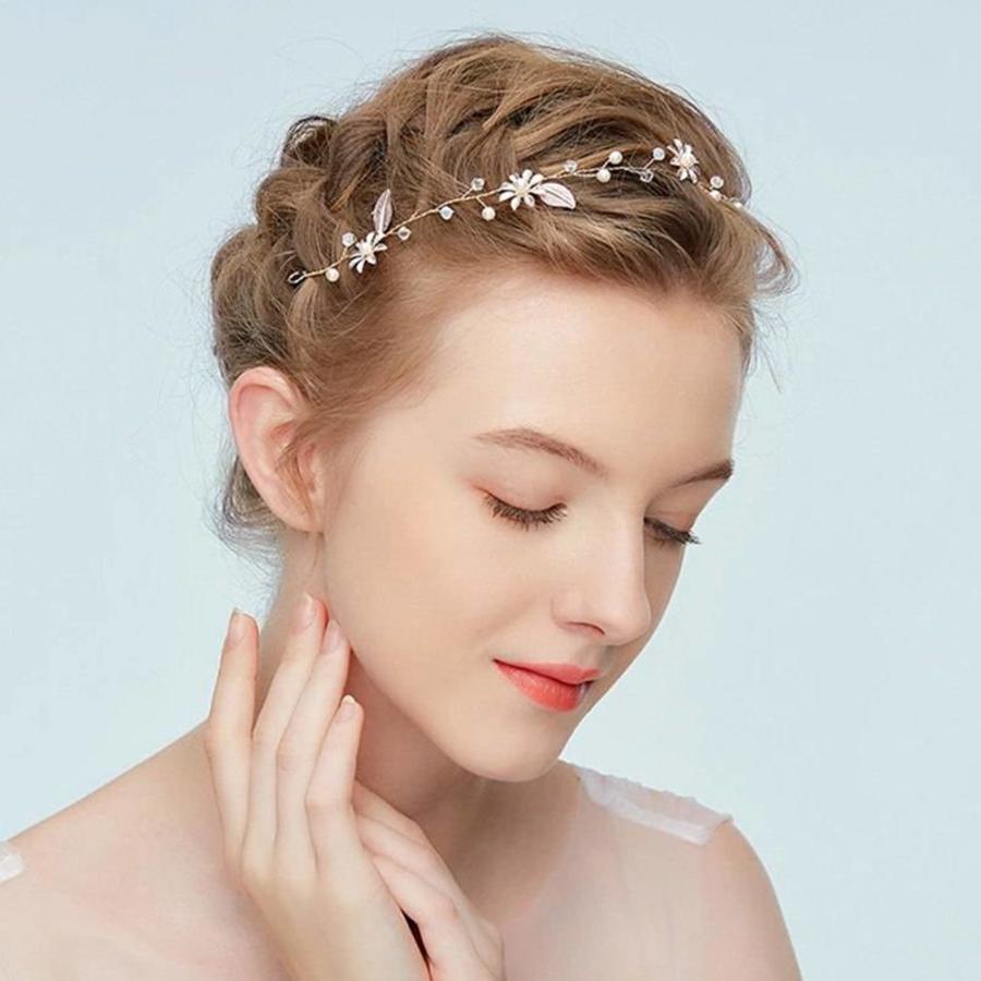 Goudkleurig Haar Sieraad met Zacht Roze Blaadjes en Bloemetjes-4