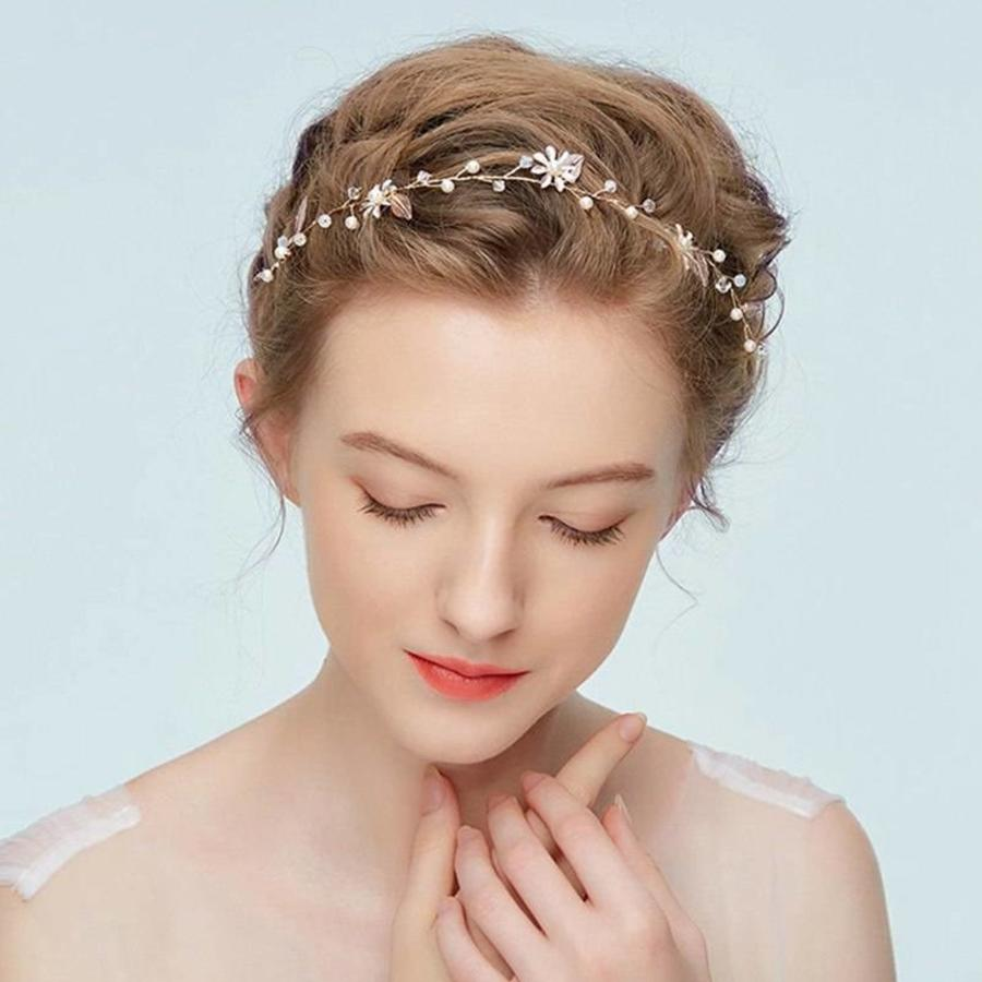 Goudkleurig Haar Sieraad met Zacht Roze Blaadjes en Bloemetjes-2