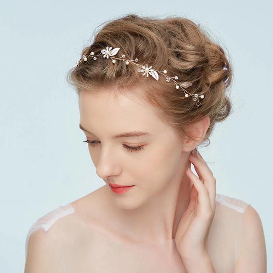 Goudkleurig Haar Sieraad met Zacht Roze Blaadjes en Bloemetjes-1