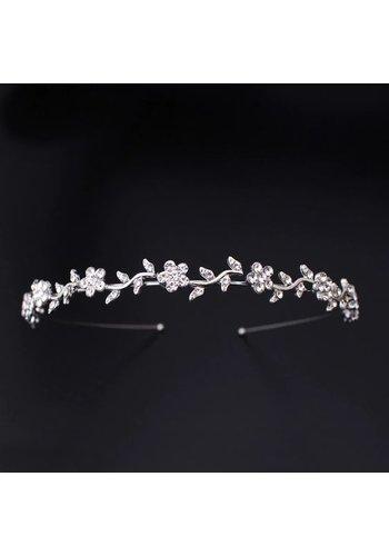Zilverkleurige Diadeem - Tiara met Fonkelende Bloemetjes