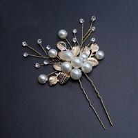 thumb-Goudkleurige Hairpins met Diamanten, Blaadjes en Parels - 2 Stuks-3
