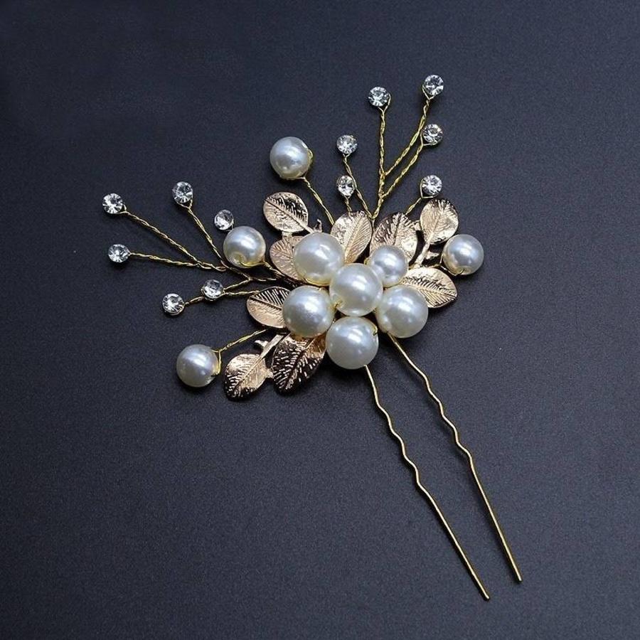 Goudkleurige Hairpins met Diamanten, Blaadjes en Parels - 2 Stuks-3