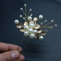 thumb-Goudkleurige Hairpins met Diamanten, Blaadjes en Parels - 2 Stuks-2