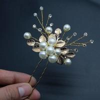 thumb-PaCaZa - Goudkleurige Hairpins met Diamanten, Blaadjes en Parels - 2 Stuks-2