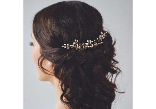 Goudkleurige Hairpins met Kristallen en Pareltjes - 2 Stuks