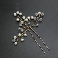 thumb-Goudkleurige Hairpins met Kristallen en Pareltjes - 2 Stuks-2
