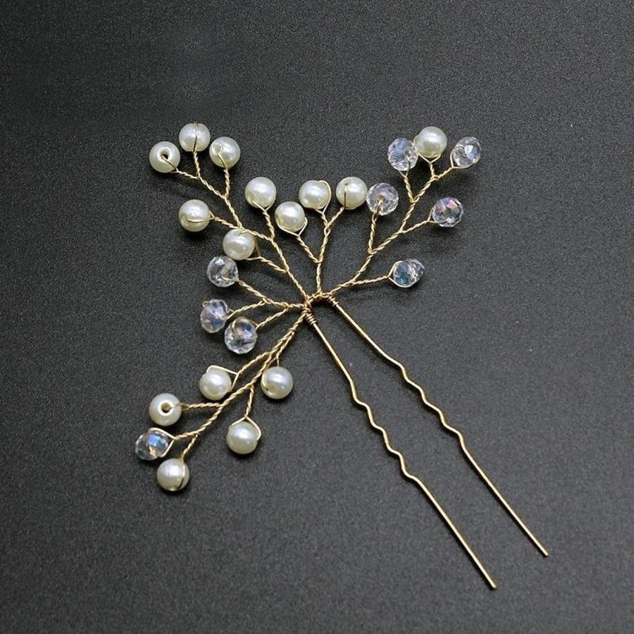 PaCaZa - Goudkleurige Hairpins met Kristallen en Pareltjes - 2 Stuks-2