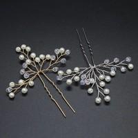 thumb-PaCaZa - Goudkleurige Hairpins met Kristallen en Pareltjes - 2 Stuks-5