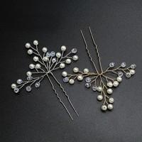 thumb-Zilverkleurige Hairpins met Kristallen en Pareltjes - 2 Stuks-5