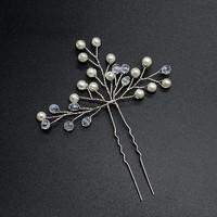 thumb-PaCaZa - Zilverkleurige Hairpins met Kristallen en Pareltjes - 2 Stuks-2