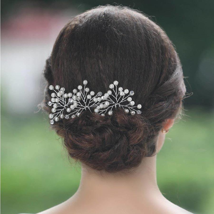 Zilverkleurige Hairpins met Kristallen en Pareltjes - 2 Stuks-6