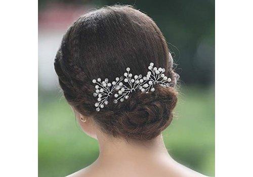 Zilverkleurige Hairpins met Kristallen en Pareltjes - 2 Stuks
