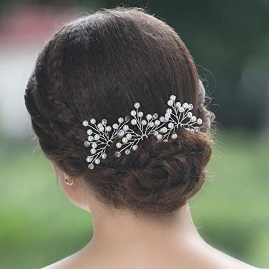Zilverkleurige Hairpins met Kristallen en Pareltjes - 2 Stuks-3