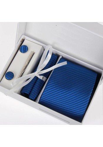 Elegante Stropdas Set in Geschenkdoos - inclusief Manchetknopen, Pochet en Dasspeld - D03 - Blauw
