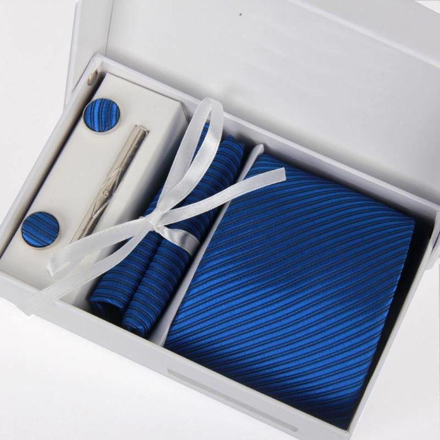 Elegante Stropdas Set in Geschenkdoos - inclusief Manchetknopen, Pochet en Dasspeld - D03 - Blauw-1
