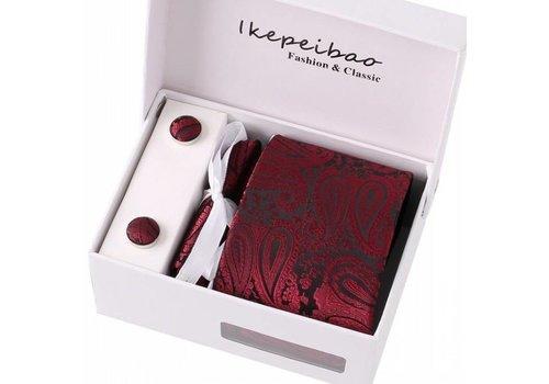 Elegante Stropdas Set in Geschenkdoos - inclusief Manchetknopen, Pochet en Dasspeld - S15 - Wijn Rood