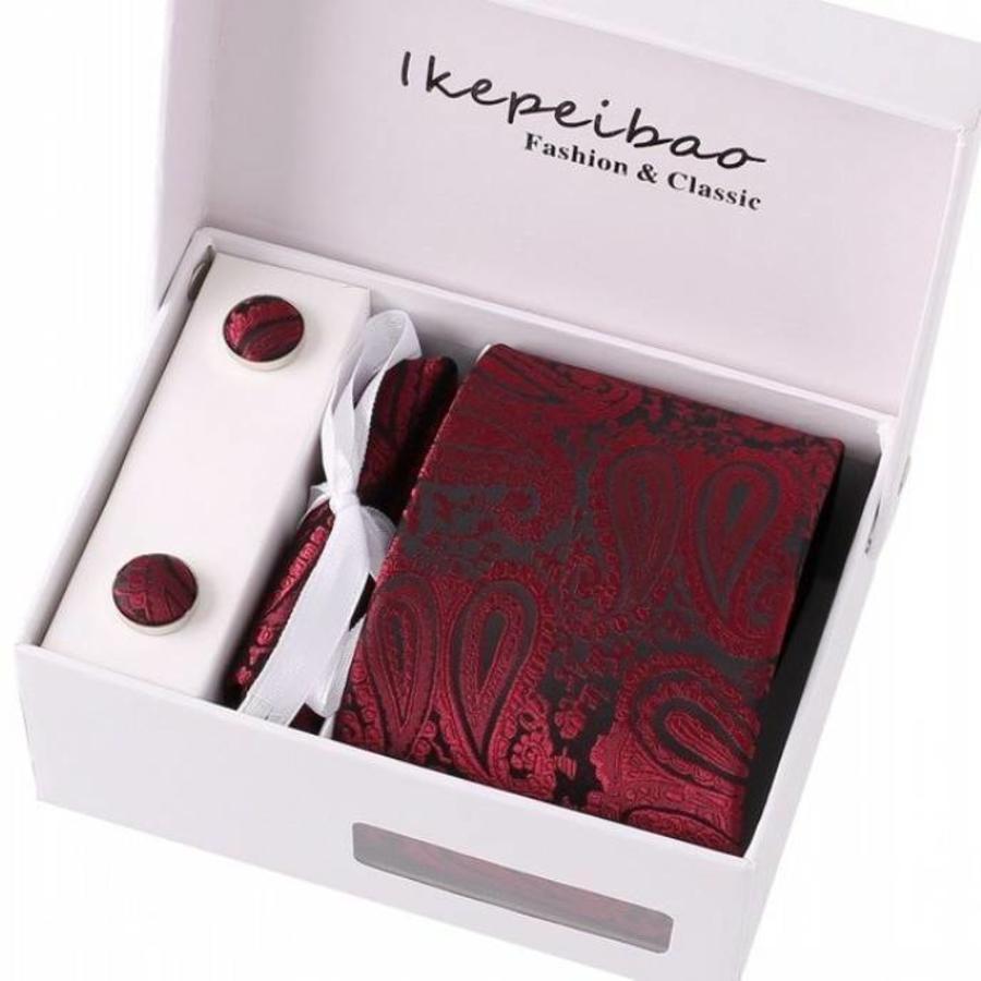 Elegante Stropdas Set in Geschenkdoos - inclusief Manchetknopen, Pochet en Dasspeld - S15 - Wijn Rood-1