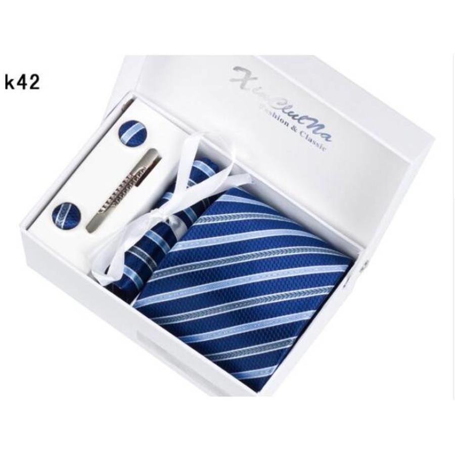 Elegante Stropdas Set in Geschenkdoos - inclusief Manchetknopen, Pochet en Dasspeld - K42 - Blauw-3