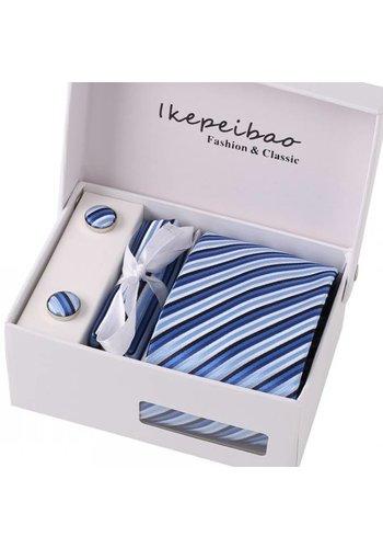 Elegante Stropdas Set in Geschenkdoos - inclusief Manchetknopen, Pochet en Dasspeld - K41 - Blauw
