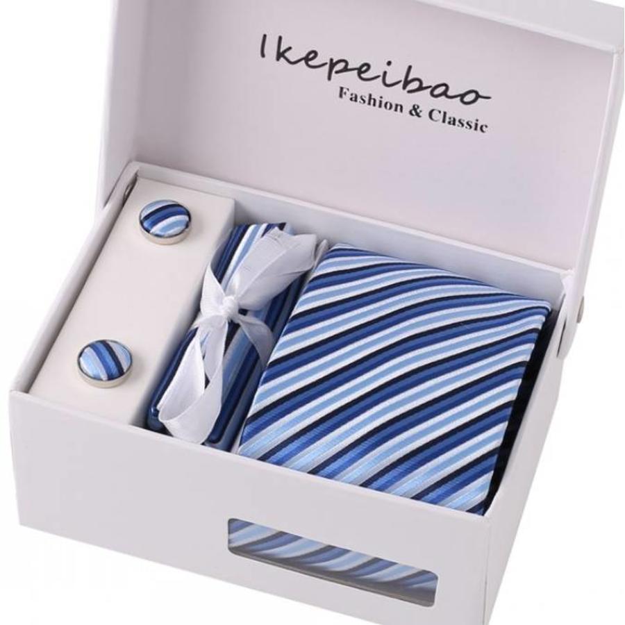 Elegante Stropdas Set in Geschenkdoos - inclusief Manchetknopen, Pochet en Dasspeld - K41 - Blauw-1