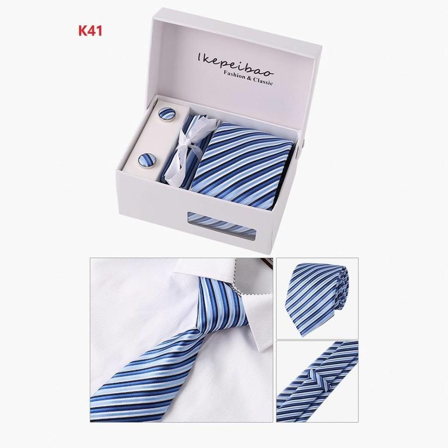 Elegante Stropdas Set in Geschenkdoos - inclusief Manchetknopen, Pochet en Dasspeld - K41 - Blauw-2