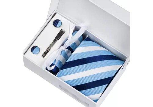 Elegante Stropdas Set in Geschenkdoos - inclusief Manchetknopen, Pochet en Dasspeld - K07 - Blauw