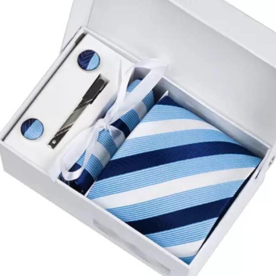 Elegante Stropdas Set in Geschenkdoos - inclusief Manchetknopen, Pochet en Dasspeld - K7 - Blauw-1