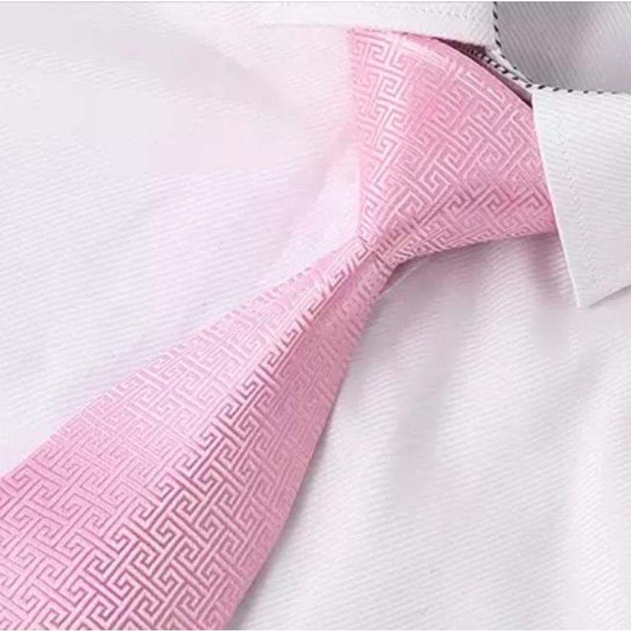 Elegante Stropdas Set in Geschenkdoos - inclusief Manchetknopen, Pochet en Dasspeld - PK10 Licht roze-3