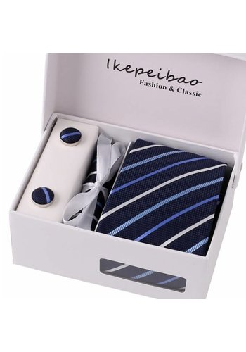 Elegante Stropdas Set in Geschenkdoos - inclusief Manchetknopen, Pochet en Dasspeld - K4 Blauw
