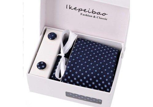 Elegante Stropdas Set in Geschenkdoos - inclusief Manchetknopen, Pochet en Dasspeld - K71 - Donker Blauw