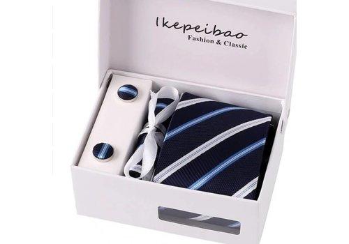 Elegante Stropdas Set in Geschenkdoos - inclusief Manchetknopen, Pochet en Dasspeld - A2-1 - Donker Blauw