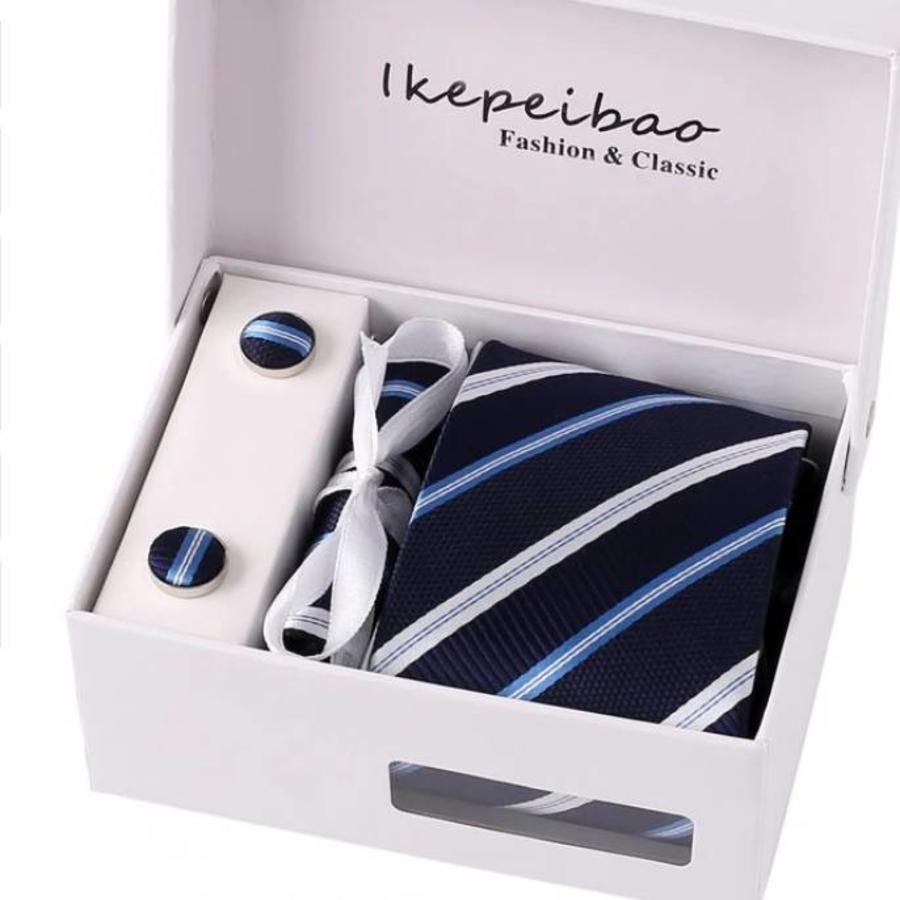 Elegante Stropdas Set in Geschenkdoos - inclusief Manchetknopen, Pochet en Dasspeld - A2-1 - Donker Blauw-1