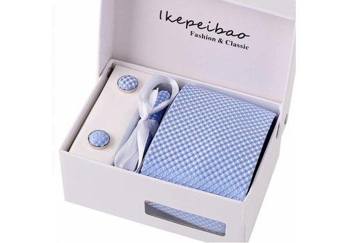 Elegante Stropdas Set in Geschenkdoos - inclusief Manchetknopen, Pochet en Dasspeld - K35 - Licht Blauw