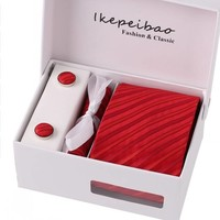 thumb-Elegante Stropdas Set in Geschenkdoos - inclusief Manchetknopen, Pochet en Dasspeld - K70 - Rood-1